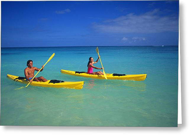Athletic Photo Greeting Cards - Couple Paddling Greeting Card by Kyle Rothenborg - Printscapes