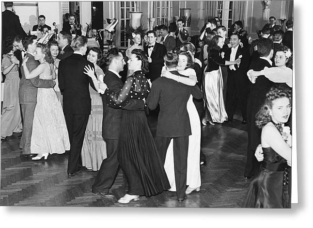 Heterosexual Couple Greeting Cards - Couples Dancing To Big Band Greeting Card by Underwood Archives