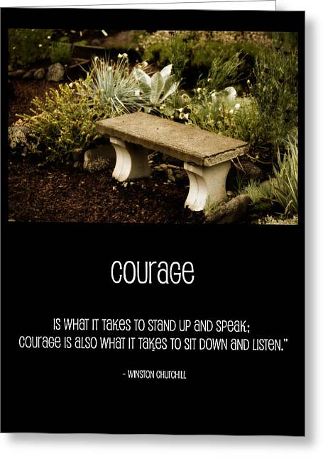 Stone Bench Greeting Cards - Courage  Greeting Card by Bonnie Bruno
