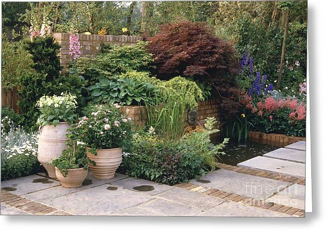 Chelsea Greeting Cards - Courtyard Garden Greeting Card by Vaughan Fleming