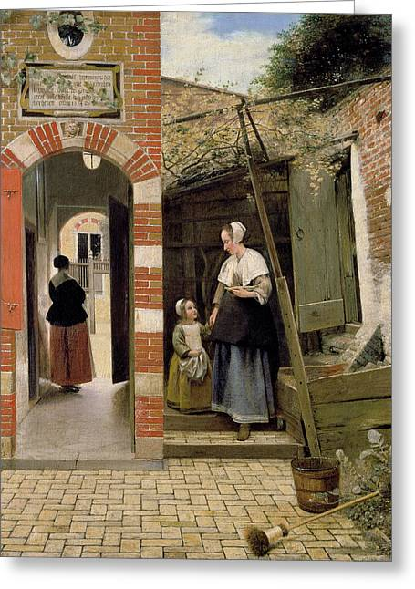 Mothers And Daughters Greeting Cards - Courtyard of a house in Delft Greeting Card by Pieter de Hooch