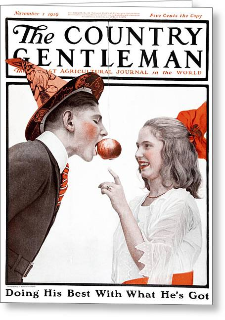 Apples; Bobbing; Apple Greeting Cards - Cover Of Country Gentleman Agricultural Greeting Card by Remsberg Inc