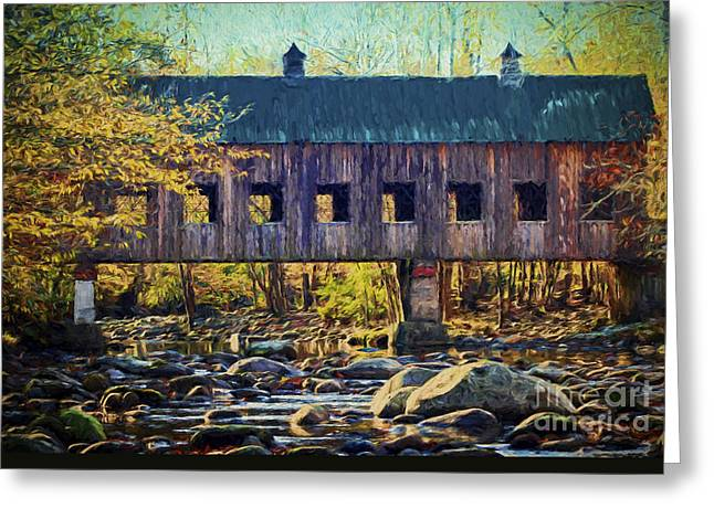 Covered Bridge Greeting Cards - Covered Bridge Greeting Card by Dave Bosse