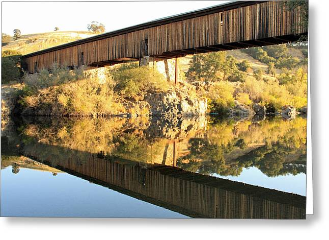 Covered Bridge Reflection Greeting Card by Troy Montemayor