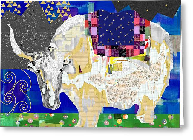 Stay Curious Cow Collage  Greeting Card by Claudia Schoen