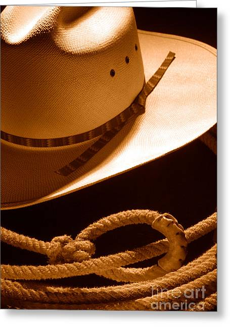 Cowboy Hat And Lasso - Sepia Greeting Card by Olivier Le Queinec
