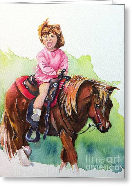 Cowgirl Painting Greeting Card by Maria's Watercolor