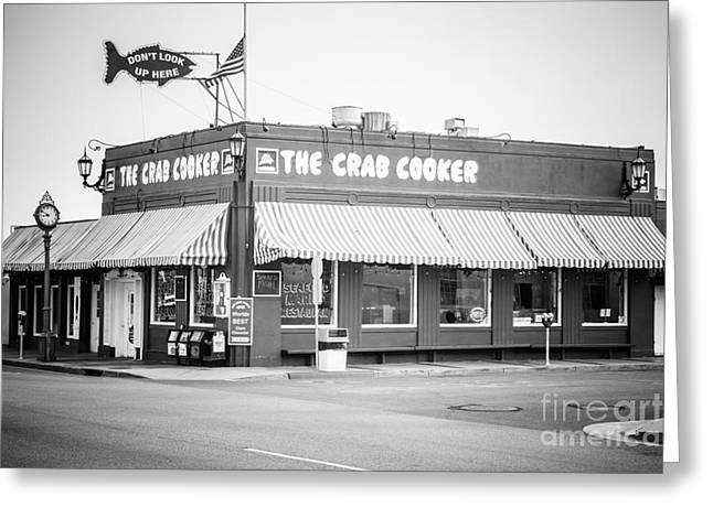 Crab Cooker Newport Beach Black And White Photo Greeting Card by Paul Velgos