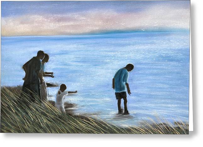 Horizon Pastels Greeting Cards - Crab fishers Greeting Card by Jan Amiss