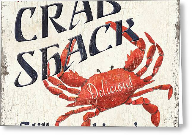 Crab Greeting Cards - Crab Shack Greeting Card by Debbie DeWitt