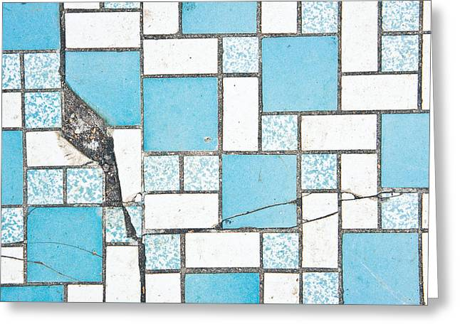 Cracked Tiled Surface Greeting Card by Tom Gowanlock