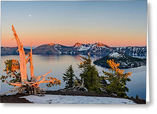 Crater Lake Panorama Greeting Card by Mike Ronnebeck