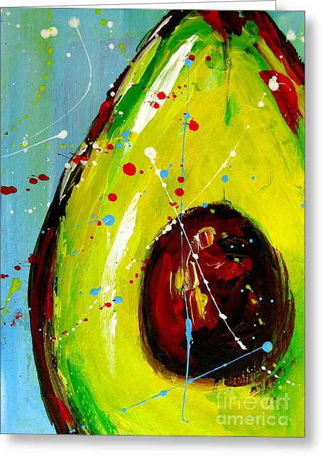 Crazy Avocado Greeting Card by Patricia Awapara