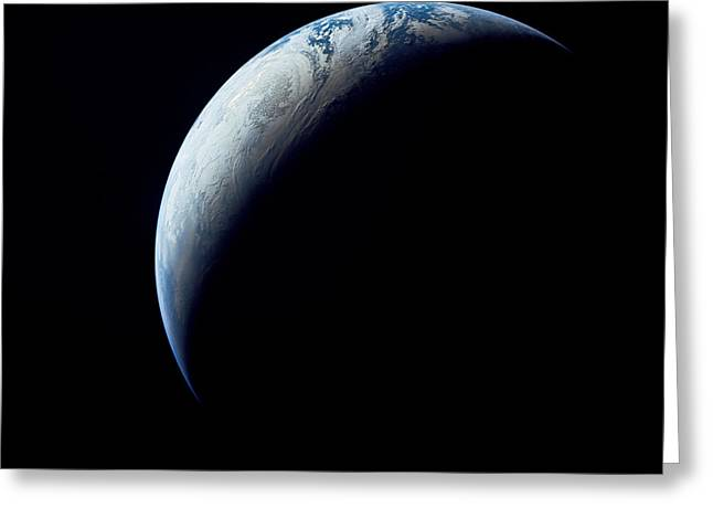 Crescent Earth Taken From The Apollo 4 Greeting Card by Stocktrek Images