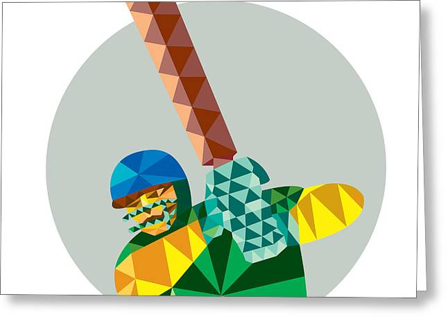 Batting Helmet Greeting Cards - Cricket Player Batsman Batting Low Polygon Greeting Card by Aloysius Patrimonio
