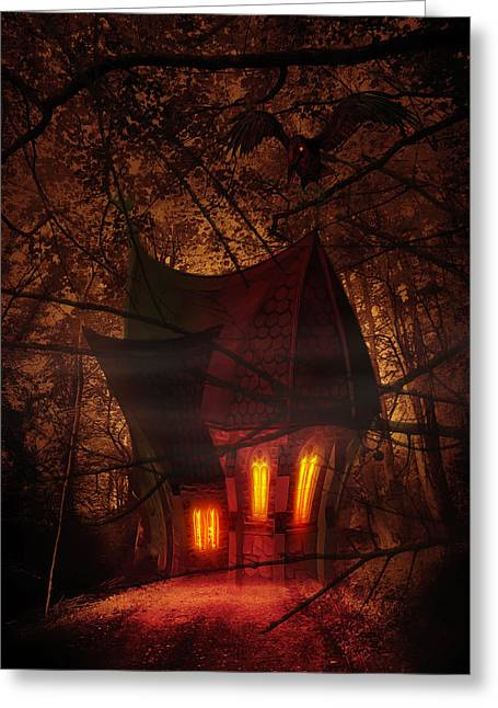 Serene Mixed Media Greeting Cards - Crooked House Greeting Card by Svetlana Sewell