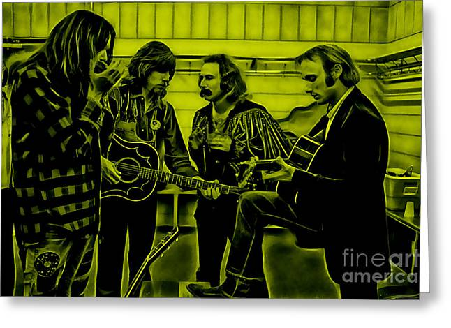 Neil Young Greeting Cards - Crosby Stills Nash and Young Greeting Card by Marvin Blaine