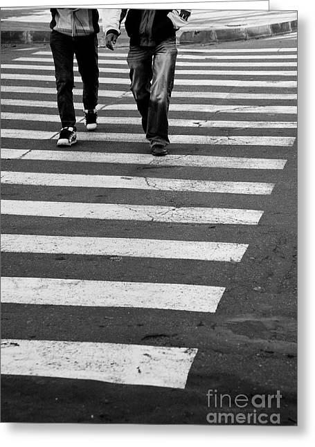 Crosswalk Greeting Cards - Crossing Greeting Card by Gabriela Insuratelu