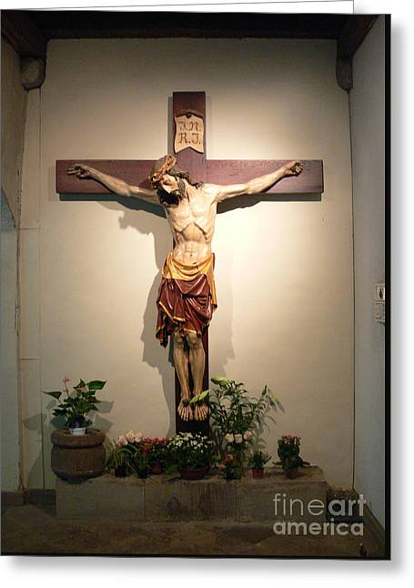 Crucifix Mixed Media Greeting Cards - Crucifix Greeting Card by Frederick Holiday