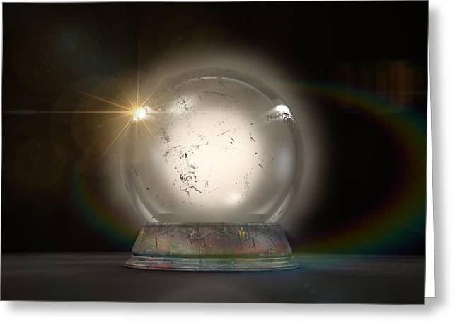 Crystal Ball Glowing Greeting Card by Allan Swart