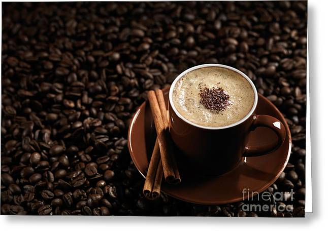 Coffe Greeting Cards - Cup of Coffe Latte on Coffee Beans Greeting Card by Oleksiy Maksymenko