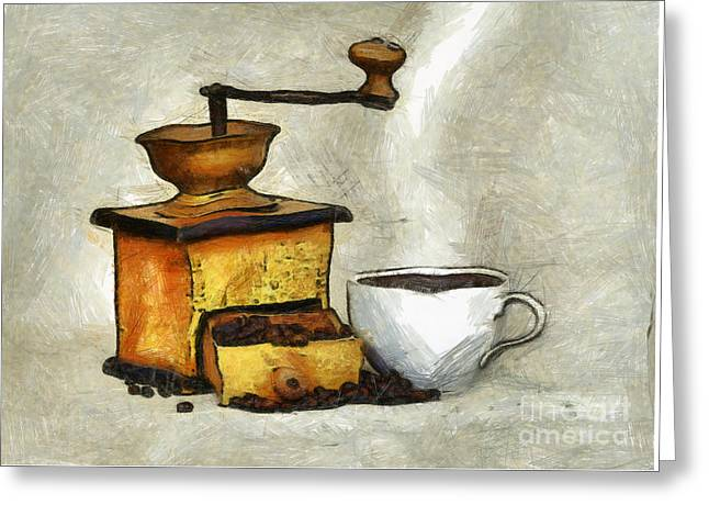 Old Grinders Digital Greeting Cards - Cup Of The Hot Black Coffee Greeting Card by Michal Boubin