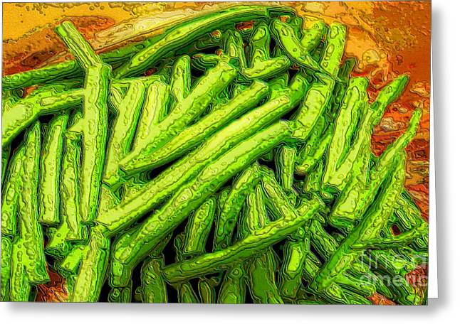 Green Bean Greeting Cards - Cut Green Beans Greeting Card by Ron Bissett