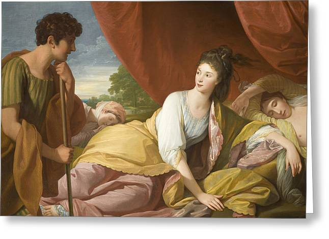 Man And Woman Greeting Cards - Cymon and Iphigenia Greeting Card by Benjamin West