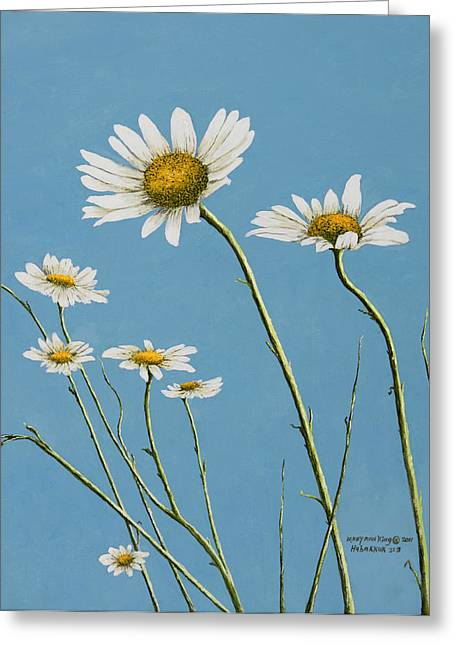 Arkansas Paintings Greeting Cards - Daisies in the Wind Greeting Card by Mary Ann King
