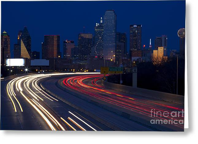 Metroplex Office Greeting Cards - Dallas Commute Greeting Card by Anthony Totah