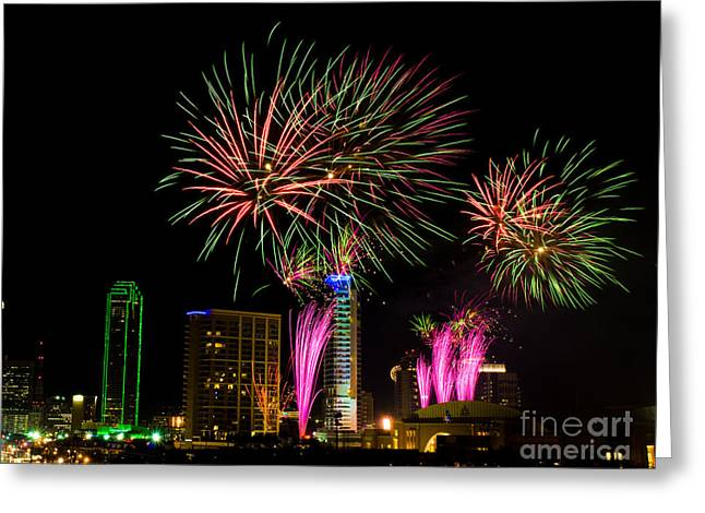 Metroplex Office Greeting Cards - Dallas Texas - Fireworks Greeting Card by Anthony Totah