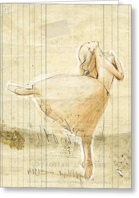 Split Drawings Greeting Cards - Dance Greeting Card by H James Hoff