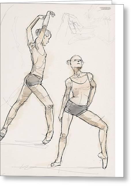 Sumi Greeting Cards - Dance Studies Greeting Card by H James Hoff