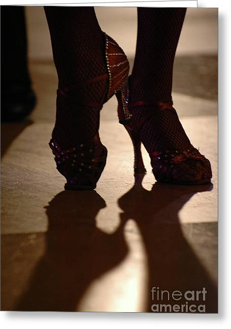 Sequin Greeting Cards - Dancing Shoes Greeting Card by Anahi DeCanio