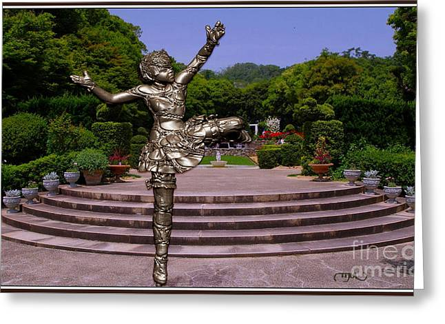 Statue Portrait Greeting Cards - dancing Statue 21DS Greeting Card by Pemaro