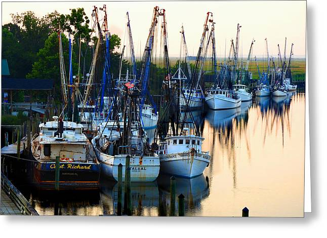 Shrimp Boat Captains Greeting Cards - Boones Seafood Docks Greeting Card by Laura Ragland
