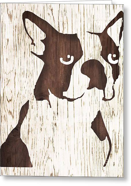 Boston Terrier Greeting Cards Greeting Cards - Dark Boston Greeting Card by Barbara  Campbell