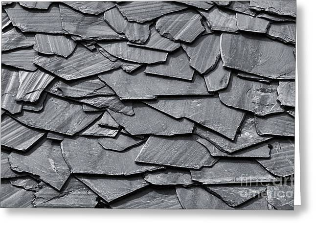 Dark Schist Blades Greeting Card by Carlos Caetano