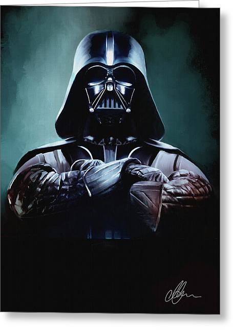 Movie Greeting Cards - Darth Vader Star Wars  Greeting Card by Michael Greenaway