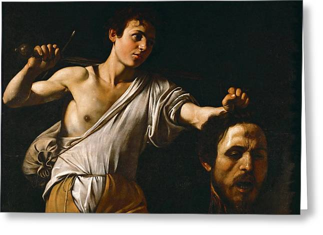 David With The Head Of Goliath Greeting Card by Caravaggio