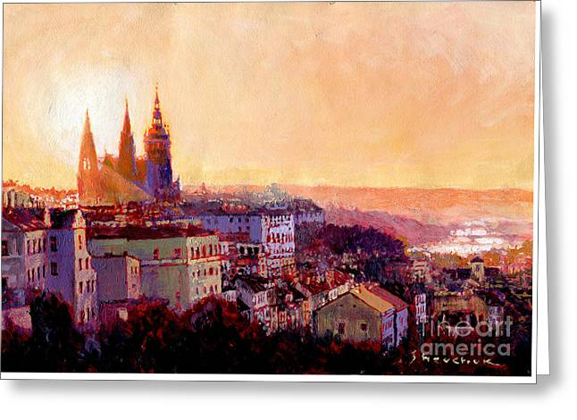 Sundown Over Prague Greeting Card by Yuriy Shevchuk