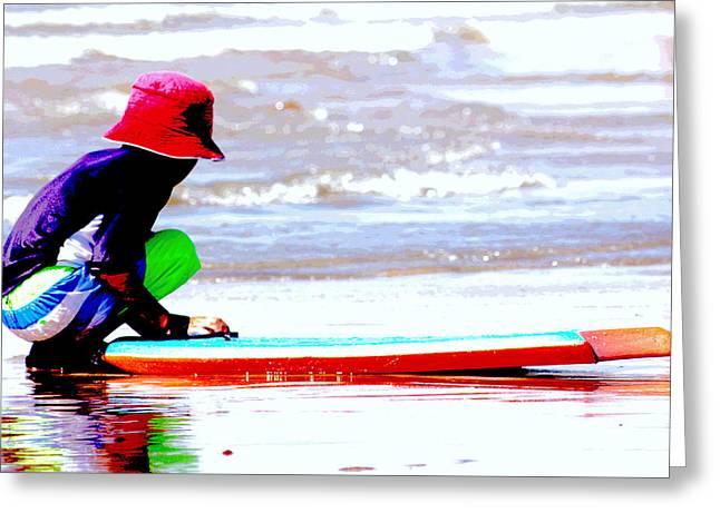 California Beach Art Greeting Cards - Day in Huntington Beach Greeting Card by Carol Mallillin-Tsiatsios