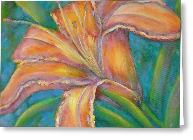 Day Lilly Paintings Greeting Cards - Day Lily  Greeting Card by Sheri Hubbard