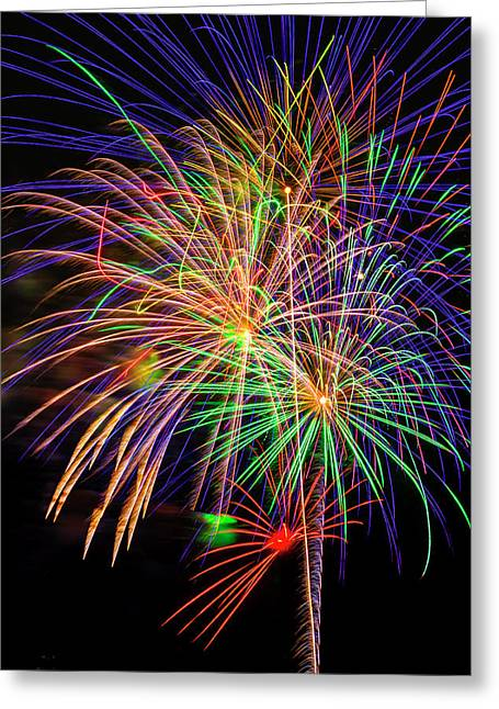 Dazzling Fireworks Greeting Card by Garry Gay