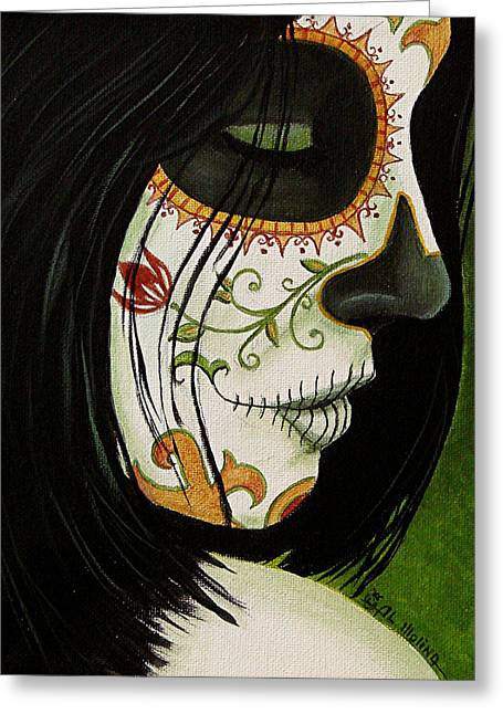 Girl Face Greeting Cards - De un Dia Para Otro Greeting Card by Al  Molina