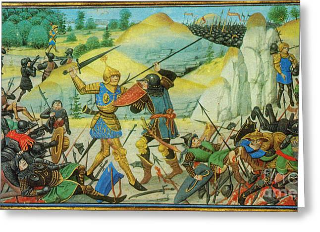 Middle Ages Greeting Cards - Death Of Roland At The Battle Greeting Card by Photo Researchers