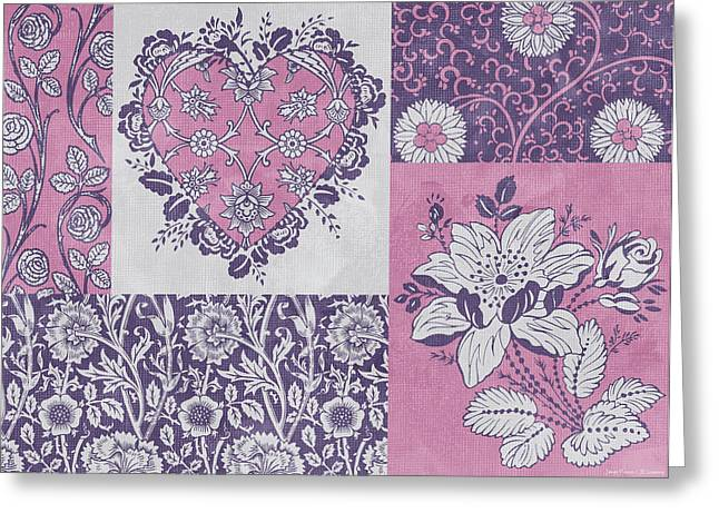Tapestries Greeting Cards - Deco Heart Pink Greeting Card by JQ Licensing