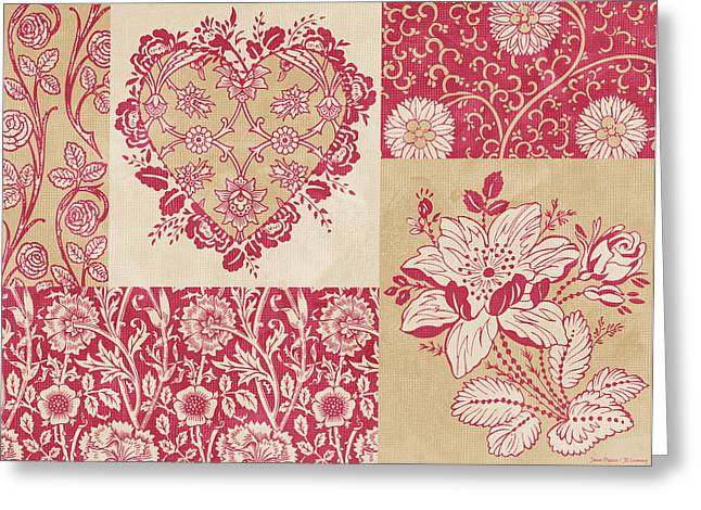 Fabric Greeting Cards - Deco Heart Red Greeting Card by JQ Licensing
