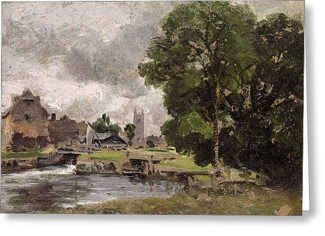 Water Mill Greeting Cards - Dedham Lock and Mill Greeting Card by John Constable