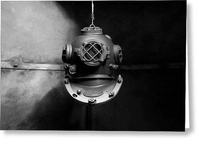 Diving Helmet Greeting Cards - Deep Sea Diving Helmet Greeting Card by Seth0s